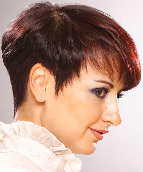 Short Straight Formal Hairstyle With Layered Bangs Burgundy Red