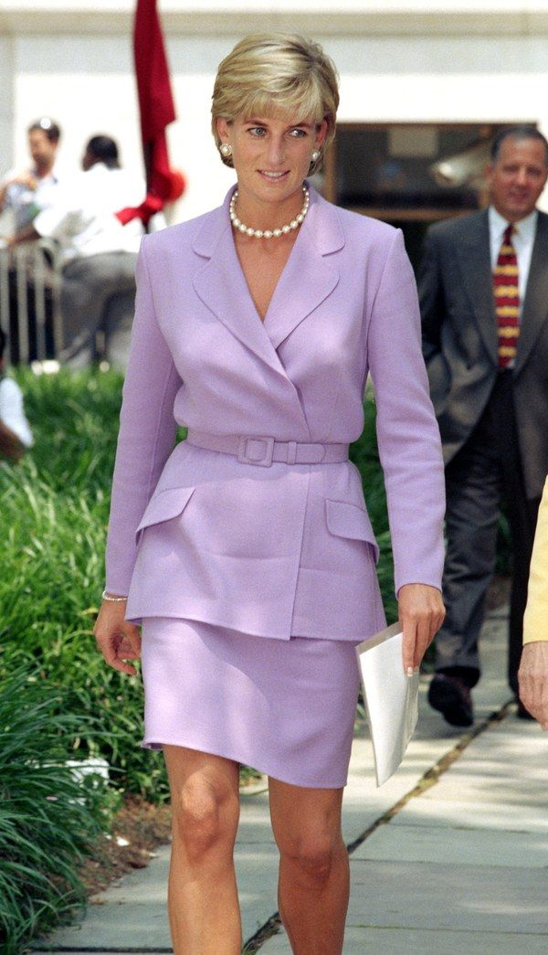 June 1997: In lavender Versace in Washington, D.C., to give a speech at the Red Cross.