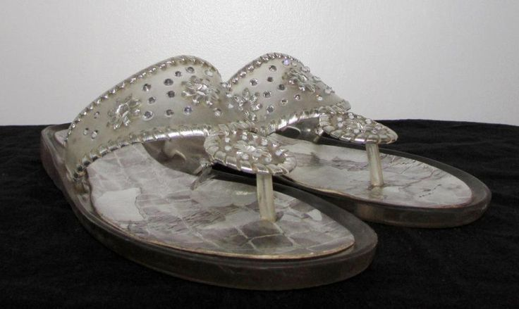 Stuart Weitzman Silver Indiana Thong Sandals Clear Jelly Swarovski Crystal sz 8…