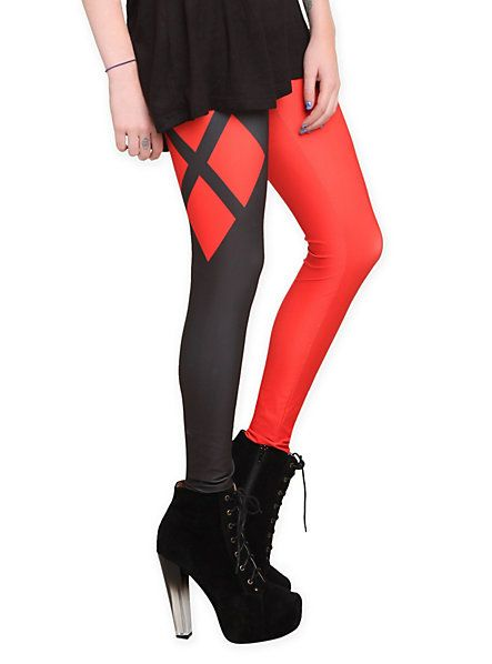 DC Comics Harley Quinn Costume Leggings   Hot Topic.... I made an identical pair of these for last halloween