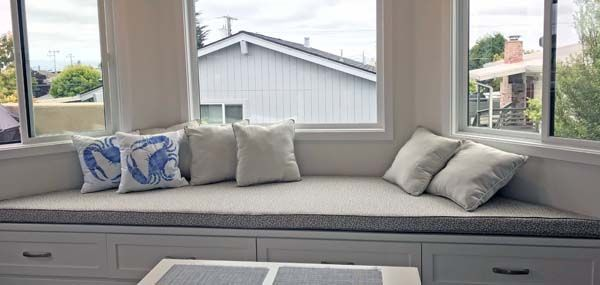 Trapezoid Bay Window Seat Custom Bench Cushion A Stunner In Duralee Grey Royal Palm With Sunbrella Canvas Granite Window Seat Bay Window Seat Window Bench Seat