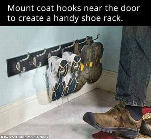 Neat and tidy: Install a coat hook low down on the floor in your hall and hang your trainers and shoes from it to keep life organised