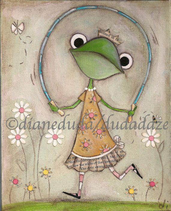 Print of my original Folk Art Childrens painting Jump by DUDADAZE