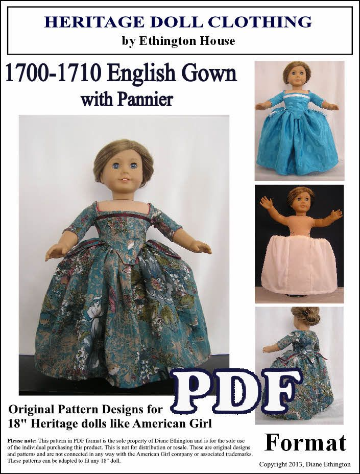 English+Gown+circa+1700++1710+with+White+Cotton+by+MotherofNine,+$5.00