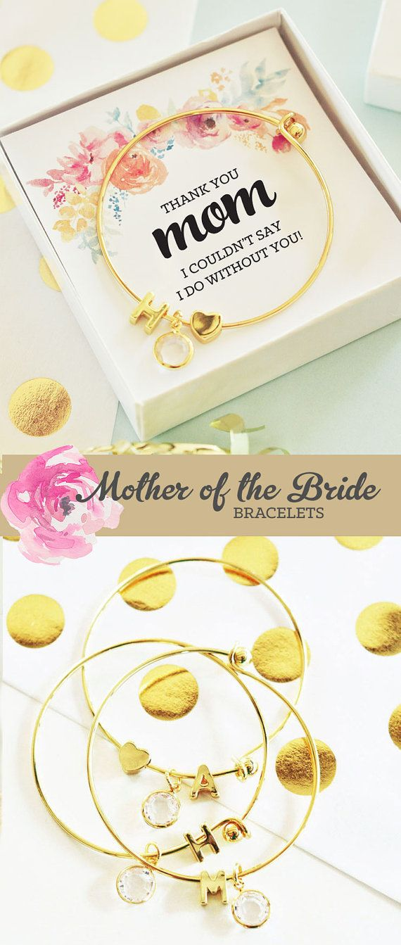 Mother of the Bride Gifts - Pretty Initial Bracelets make a unique mother of the groom or bride - perfect way to say thank you to parents on your wedding day - by ModParty