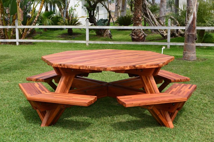 Octagonal Picnic Table (Options: 6' Diameter Tabletop, Attached Benches, Mosaic Eco-Wood, Standard Tabletop, Rounded Corners, No Umbrella Hole, Transparent Premium Sealant).