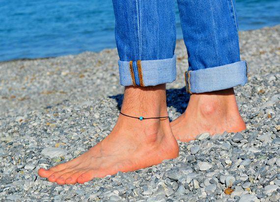 Mens Anklet, Mens Beaded Anklet, ankle bracelet for men, Anklet for men, Minimal Anklet for him, Gift for him, black cord, Surfer Jewelry