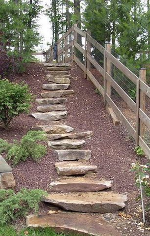 Simple stone steps, heavy, but easy to build. Will be lovely when the planting gets established... Repinned by Elizabeth Dean Garden Design / u & i Garden