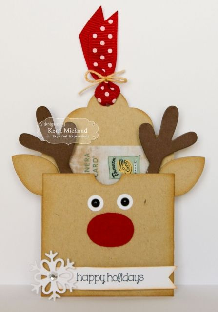 Happy Holidays Pocket Tag/ Gift Card Holder by Kerri Michaud #Tags, #GiftGiving, #Christmas