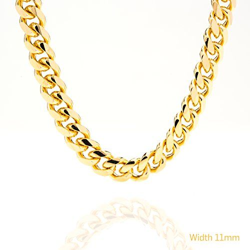 Men's Jewelry Gold chain necklace 11MM Round Cuban Curb Link Lifetime warranty 24K 30x Thicker than gold plated fashion jewelry for Men, Hip hop, Women, Tarnish-resistant, Lobster Clasp, USA made (18) * You can get additional details at the image link.