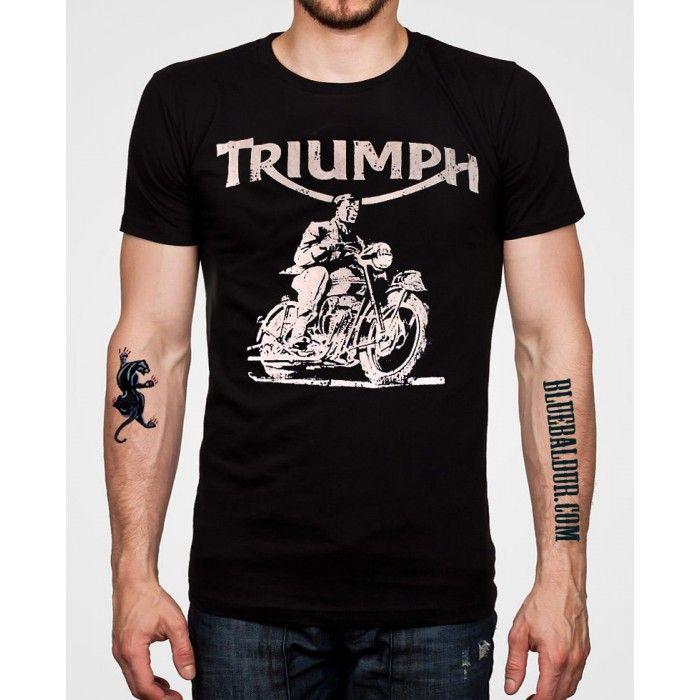 Retro Triumph Motorcycle T-shirt in black by Oil Leak