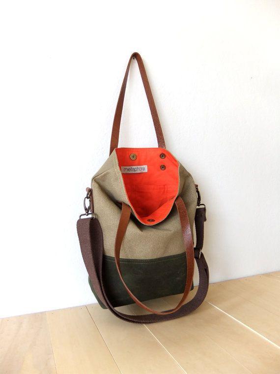 Waterproof Foldover Bag Convertible Tote Waxed by metaphore