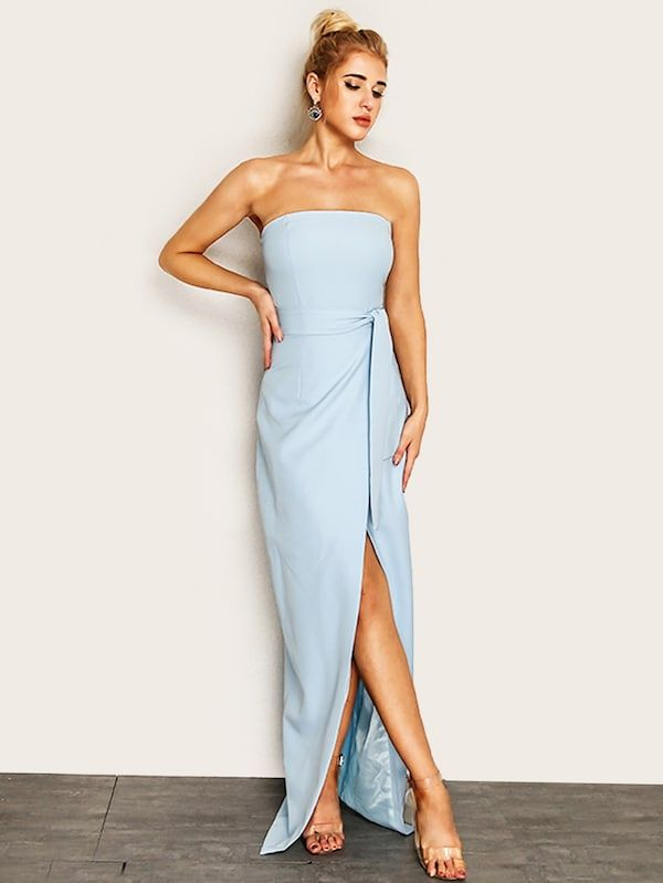 b0747c2520af Joyfunear Knot Waist Wrap Split Front Tube Dress | SHEIN | Formal ...