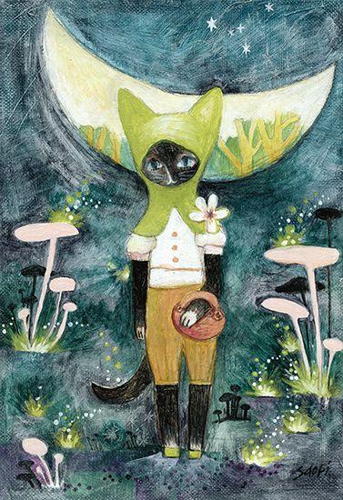 三日月森-萌緑のフードの猫-