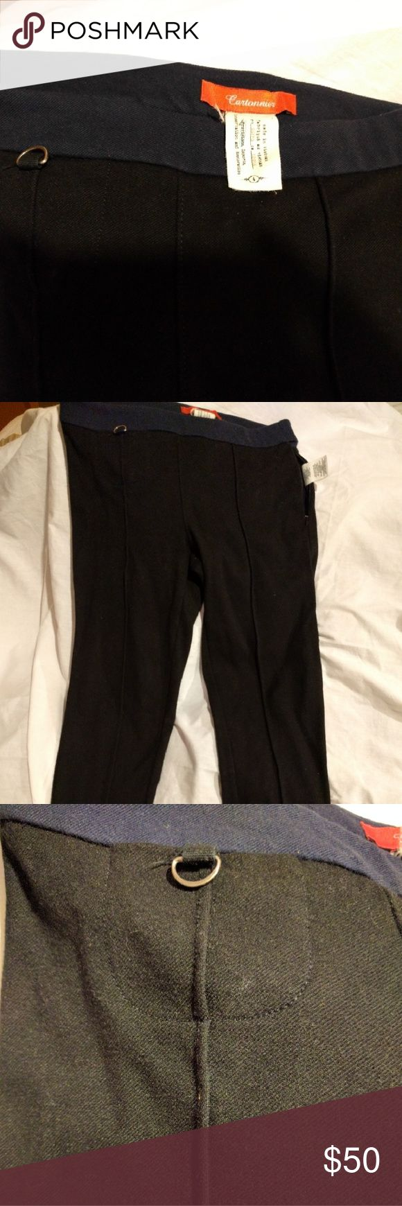 """Anthropologie Cartonnier Legging Riding Pants Skinny stretch leggings that have the thickness and feel of riding pants. Navy waistband, side zip, decorative seam on front of legs. I Little pocket with tiny metal D ring embellishment. Amazing pants, comfortable, chic, make your ass look great! 28"""" inseam Anthropologie Pants Leggings"""