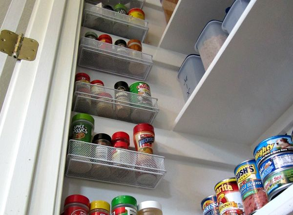 Create more pantry space  Small office organizers like the ones used for pencils and pens can turn wasted wall space into room for spice storage.