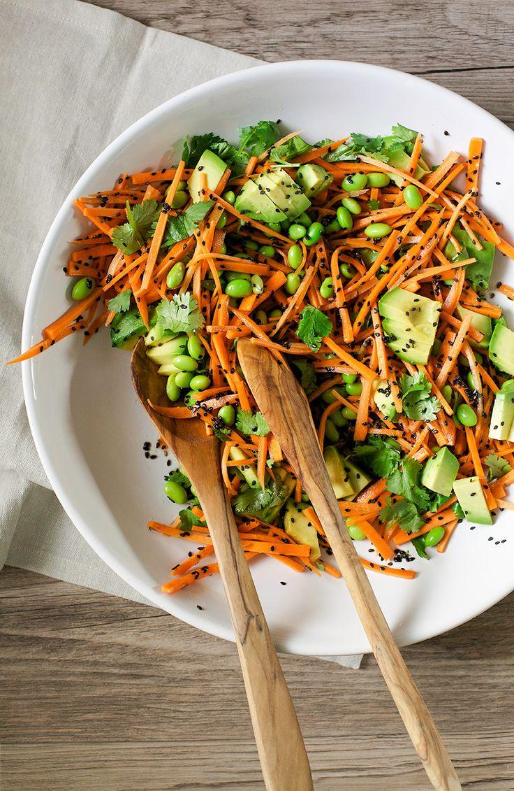 ginger, citrus + black sesame carrots w/ edamame and avocado recipe