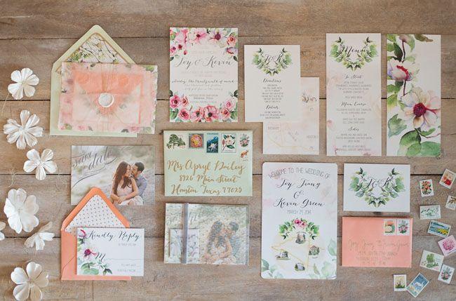 pretty suite invitation with florals