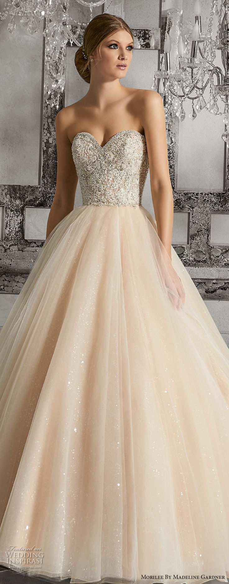 morilee fall 2017 bridal strapless sweetheart neckline heavily embellished bodice tulle skirt blush color romantic a  line wedding dress chapel train (8175) zv -- Morilee by Madeline Gardner Fall 2017 Wedding Dresses