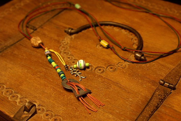 "Sweet ""boy meets girl"" pendant bohemian long necklace with leather cords. by Hishuk on Etsy"