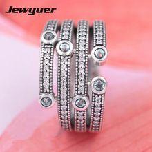 Mar brillante anillos de Plata para las mujeres de ley 925 anillo de plata fina joyería de la boda anillos Jewyuer RIP095 al por mayor(China)