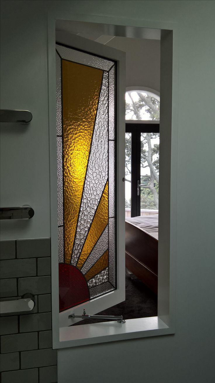 Sun-ray stained glass window @glassartsdesign Auckland