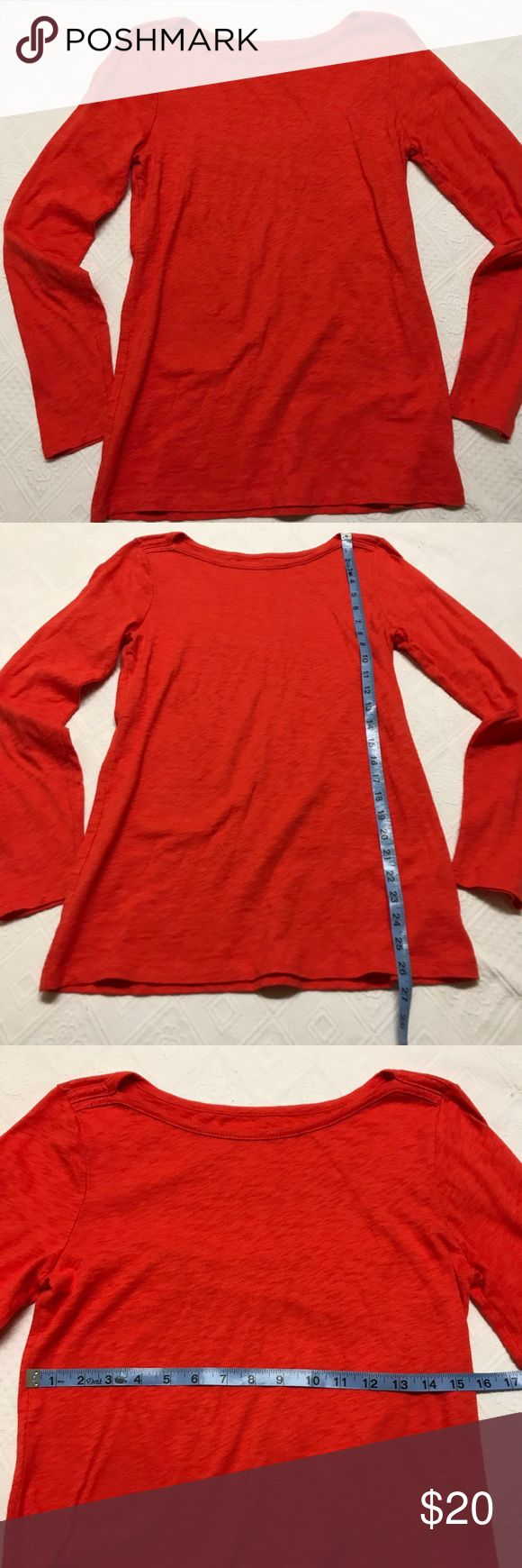 J Crew Artist T Medium Coral Shirt Long Sleeve Like new, no flaws Deep coral colors J. Crew  Artist T J. Crew Factory Tops Tees - Long Sleeve