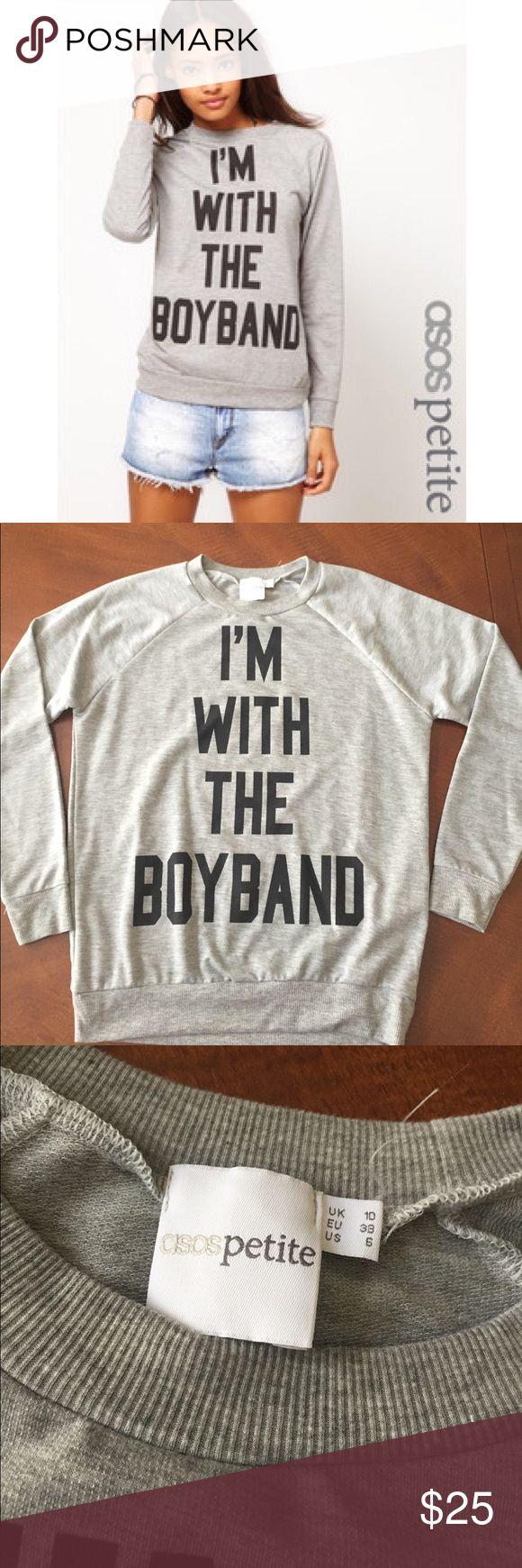 Asos Petite I'm With The Boyband Crewneck Top US size 6. Worn once. As seen on Lou Teasdale. Asos Tops