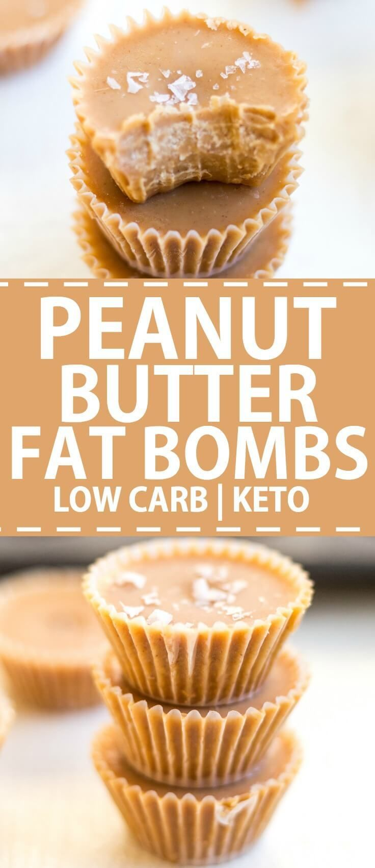 Peanut Butter Fat Bombs are a low carb keto recipe. This easy snack recipe is made with coconut oil and natural peanut butter for clean eating. Top with chocolate or sea salt.