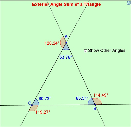 Find Sum Of Exterior Angles Of A Triangle: Exterior Angle Sum