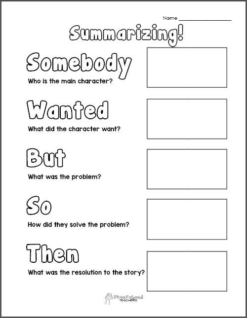 Summarizing Graphic Organizer from Squarehead Teachers Blog (FREE printable page)
