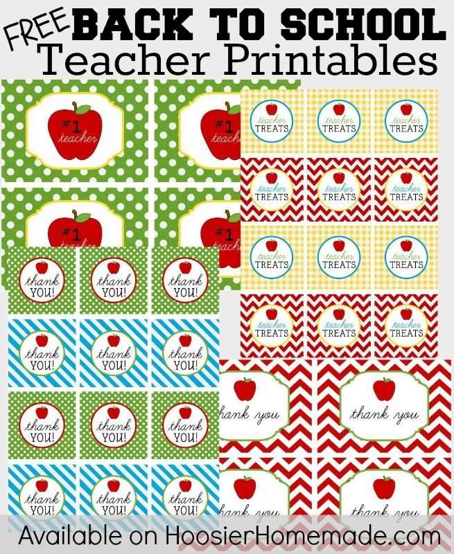 FREE Back to School Printables :: Sets include Teacher Note Cards ...