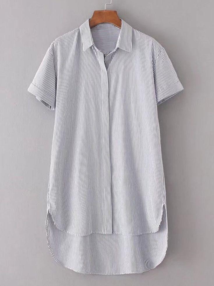 Dresses by BORNTOWEAR. Rolled Cuff High Low Shirt Dress