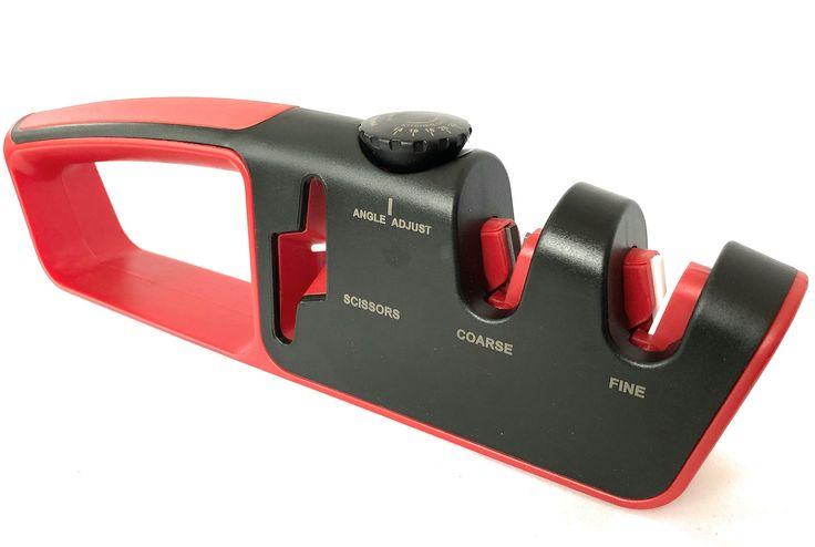 Knife Sharpener Scissor Sharpener 7 in 1 Adjustable Sharpener Safe/Easy To Use (BLACK/RED)