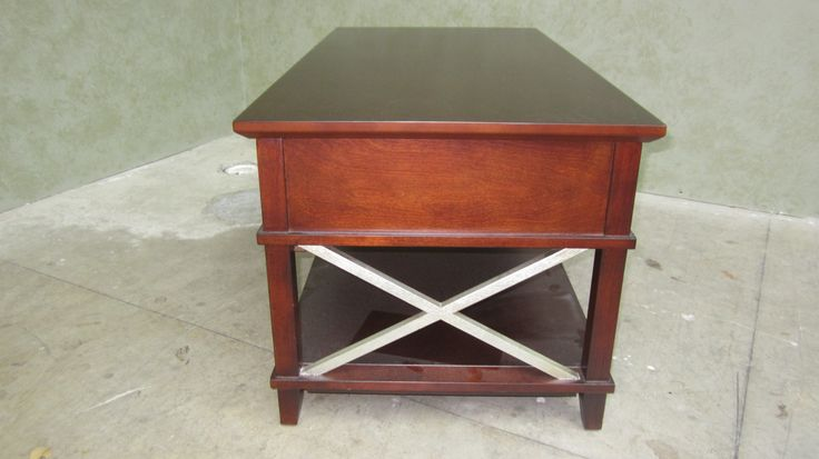 End table - refinished to medium brown with silver gilding details by AM Furniture Finishing.
