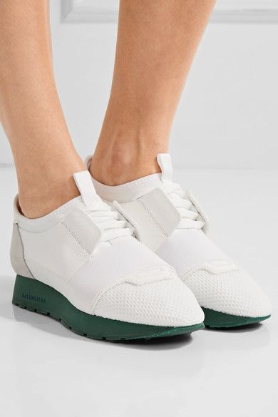 Balenciaga | Race Runner leather, mesh, suede and neoprene sneakers | NET-A-PORTER.COM