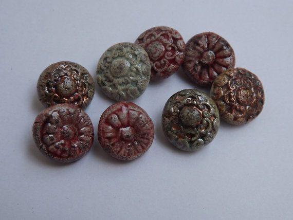 8 Ceramic buttons 15mm / 06  round button raku by BlueBirdyDesign, €16.00