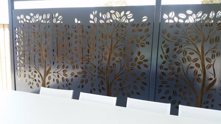 Laser Cut Privacy Fence Panels. Design : Tree Of Life (Modified)  Material : Powder Coated Aluminium.