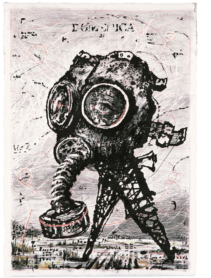 Dibujo para Il Sole 24 Ore: Domenica (Máscara de gas) | William Kentridge