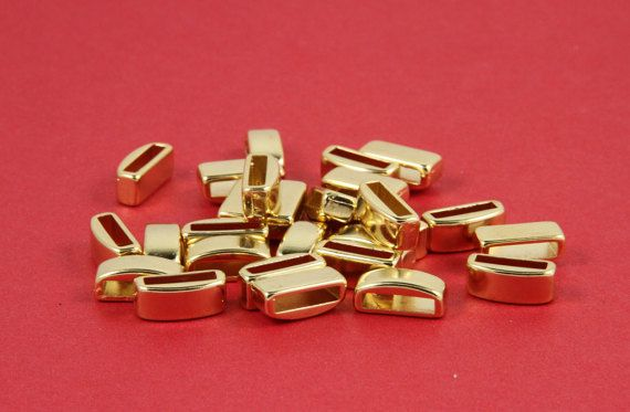 MADE in EUROPE 4 gold zamak slider bars 10mm flat by luckysupply