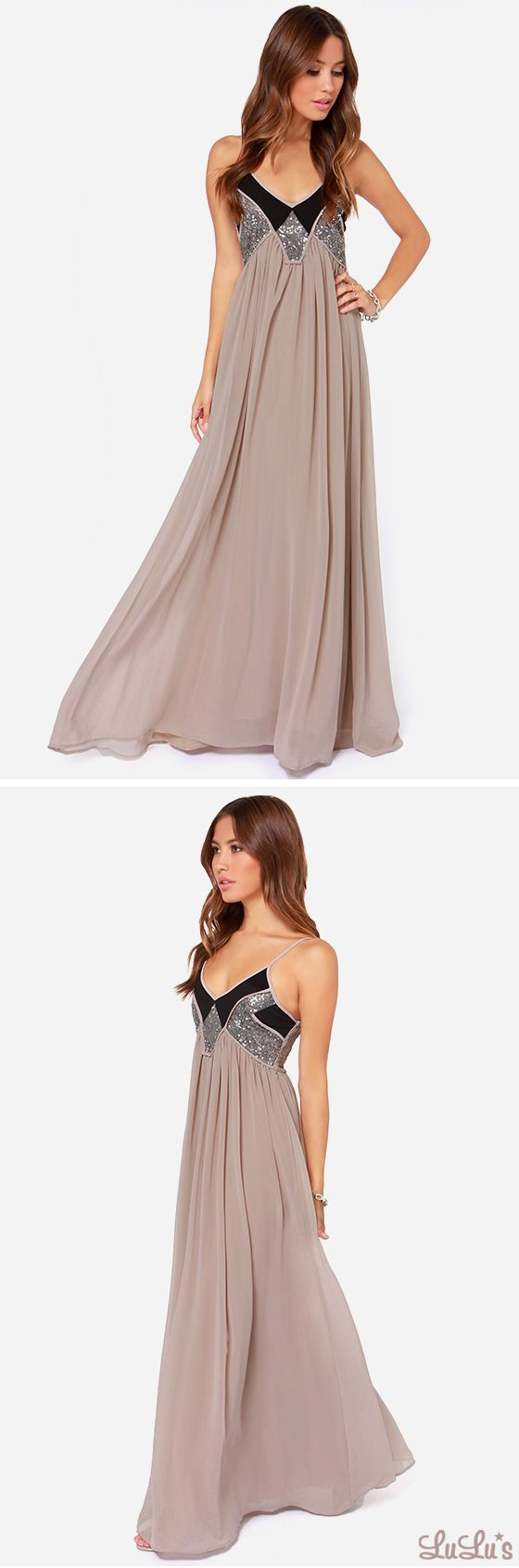 Top Of The World Taupe Sequin Maxi Dress