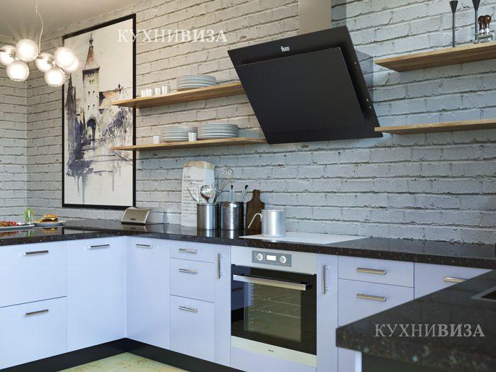 Кухня в голубом цвете в стиле лофт. Loft kitchen cabinet blue.