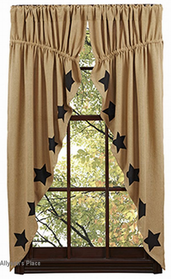 Burlap Natural Black Stencil Star Prairie Curtains These Would Be A Charming Country Accent To Your Window
