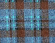"Vintage Blue Plaid Wool Fabric, Turquoise Woven Blanket Wool Fabric, Quilting Sewing Dress Skirt Fabric Material 23"" x 56"" ETSY binguspingusart"