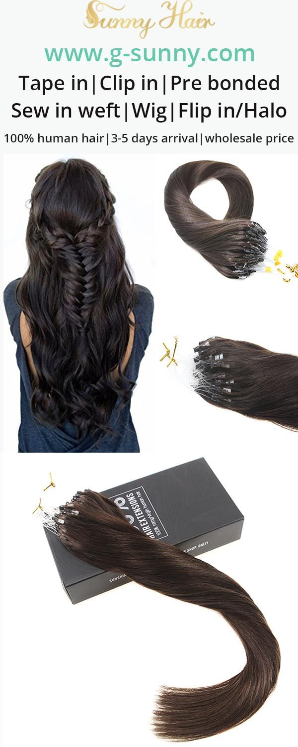 Sunny Hair 100% remy human hair extensions, micro ring human hair extensions. Darkest brown color hair. Factory directly selling with wholesale price. www.g-sunny.com