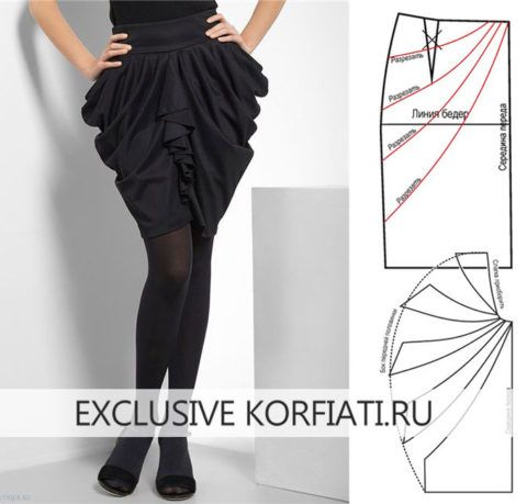 Draped side skirt pattern drafting