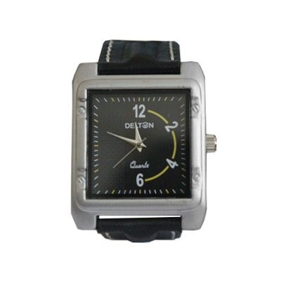 Menjewell Stylish Black Leather Belt Silver Square Dial (Water Resistance) DELTON Watch - For Men  Rs. 333/- watch for mens,luxury watches online,watches for men brands top 10,wrist watch online,watches for men on sale,online watches for mens,luxury watches for men,watches for boys,mes jewellery , mens fashion