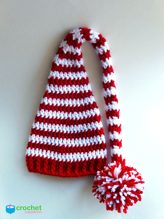Red and White Crochet Elf Hat for Newborn by TheCrochetCauldron, $18.00