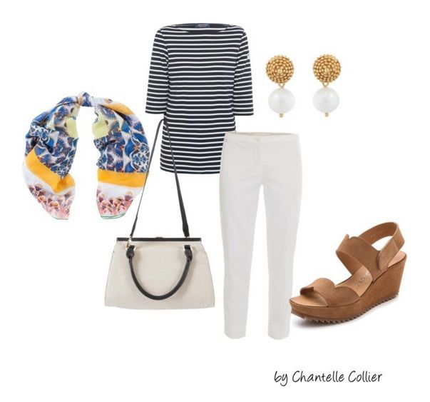 Channel Coco Chanel with your look by trying a classic striped boatneck tee in navy and white. Pair with a cropped white pant, tan wedges, and a silk scarf to add a pop of color.
