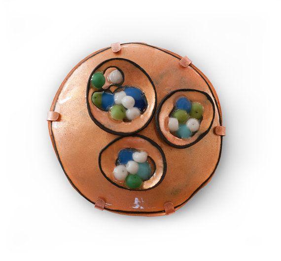 Contemporary Jewelry Enamel Brooch Art Jewelry Copper